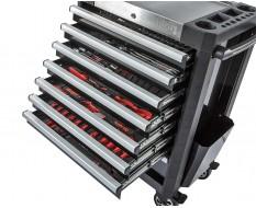 Werkstattwagen bestückt schwarz 8 Schubladen 72 x 48 x 101 cm - davon 7 Schubladen gefüllt mit Werkzeug