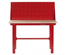 Werkbank 150 cm + Lochwand ( Rot ) Kap. 1000 kg.