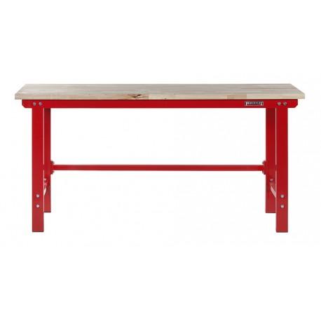 Werkbank 200 cm. Stahl ( Rot ) Hartholz - Kap. 1000 kg