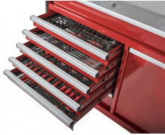 Werkstattwagen bestückt rot 7 Schubladen + Schublade mit Sichtlagerkästen 111 x 48 x 101 cm