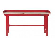 Werkbank 200 cm- Stahl ( Rot ) Hartholz + 7 cm. rand - Kap. 1000 kg.