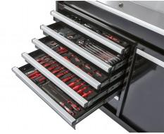 Werkstattwagen bestückt schwarz 7 Schubladen + Schublade mit Sichtlagerkästen 111 x 48 x 101 cm