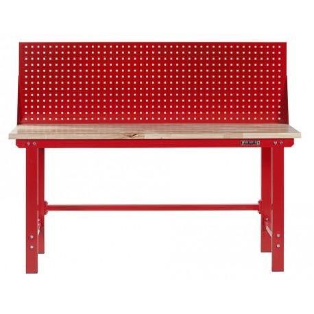 Werkbank 200 cm + Lochwand - Stahl ( Rot ) Hartholz