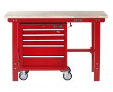Werkbank 150 cm + Werkstattwagen ( Rot ) 5 Schubladen.