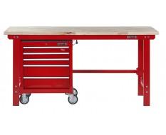Werkbank 200 cm + Werkstattwagen ( Rot ) 5 Schubladen