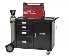 Mobiler Schweißwagen mit 4 Schubladen und abschließbaren Schrank, Schweißmobil 125 x 56 x 87,5 cm - Schweißgerätewagen