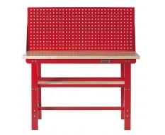 Werkbank 150 cm Stahl ( Rot ) Hartholz + Lochwand