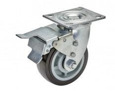 Schwenkrad Ø 130 x 42 mm Kunststoff mit Bremse für Gitterwagen 0860 und 0861