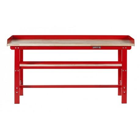 Werkbank 200 cm - Stahl ( Rot ) Hartholz - Kap. 1000 kg. + 7 cm. Rand