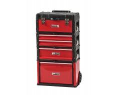 Profi Werkzeugtrolley - Werkzeugkoffer - rot 4 teilig mit stapelbaren Werkzeugkisten