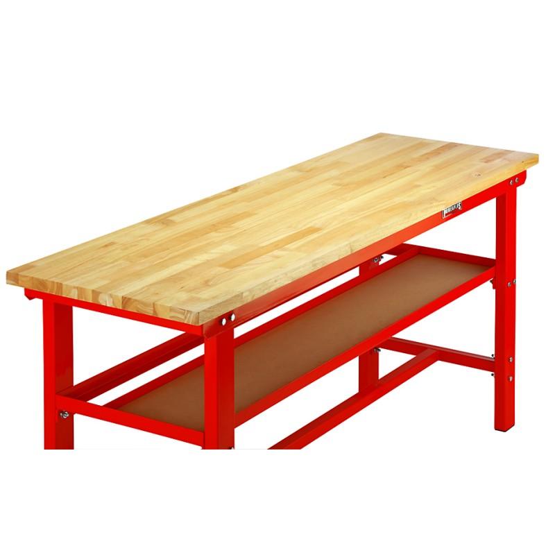 werkbank 200 cm stahl rot hartholz kap 1000 kg 7 cm rand powerplustools gmbh. Black Bedroom Furniture Sets. Home Design Ideas