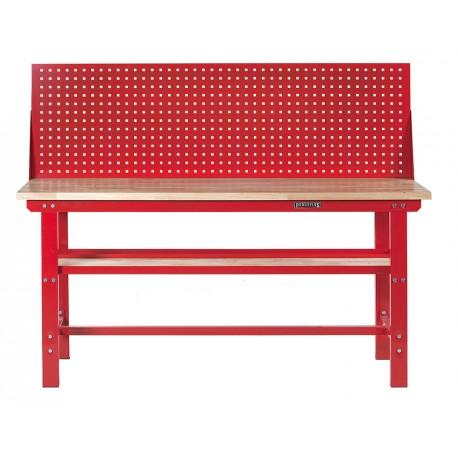 Werkbank 200 cm + Lochwand - Stahl ( Rot ) Hartholz - Kap. 1000 kg.