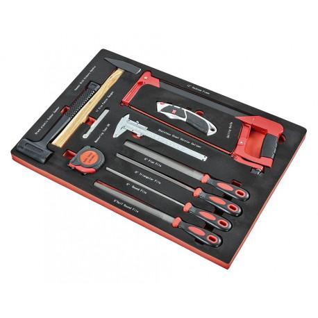 Werkzeugset 11-teilig - Metallsäge - Feilen - Messschieber - 2 Hammer - Fühlerlehren in Einlage