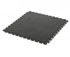 PVC Klick Fliesen schwarz 500 x 500 x 6 mm. Bodenfliesen für den industriellen Einsatz - Hammerschlag mit Anti-Rutsch-Profil