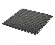 PVC Klick Fliesen schwarz 500 x 500 x 7 mm. Industrieller Werkstattboden mit runden Noppen