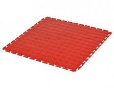 PVC Klick Fliesen rot 500 x 500 x 7 mm. Industrieller Werkstattboden mit runden Noppen