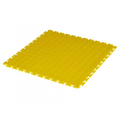 PVC Klick Fliesen gelb 500 x 500 x 7 mm. Industrieller Werkstattboden mit runden Noppen