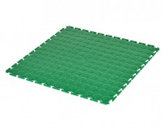 PVC Klick Fliesen grün 500 x 500 x 7 mm. Industrieller Werkstattboden mit runden Noppen