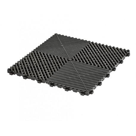 Klickfliesen offen schwarz 400 x 400 x 18 mm - Kunststoff Bodenfliese mit offener Struktur
