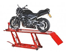 Motorradhebebühne ( Rot ) extra breit mit Motorradwippe