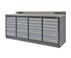 Profi Werkbank Heavy duty - Montagetisch 215 x 70 x 95 cm. mit 24 Schubladen