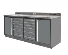 Profi Werkbank Heavy duty - Montagetisch 215 x 70 x 95 cm. mit 12 Schubladen und 2 Werkzeugschränken