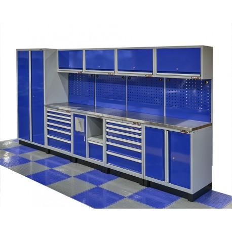 Komplette Werkstatteinrichtung Heavy duty blau, Werkbank mit Metallarbeitsplatte, 12 Schubladen, 379,5 x 200 cm