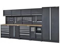 Komplette Werkstatteinrichtung Heavy duty mattschwarz, Werkbank mit Multiplexplatte, 12 Schubladen, 379,5 x 200 cm