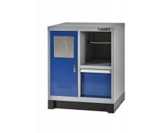 Werkstattschrank Blau und Grau mit Mülleimer, Rollenhalter und Schublade 72 x 57 x 90 cm