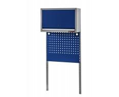 Rahmen mit Front Blende, Werkzeuglochwand und Hängeschrank Blau und Grau für Heavy duty Werkstatteinrichtung