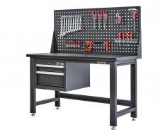 Werkbank für Elektronik mit Lochwand und Schubladeneinheit 152 cm - Montagetisch für Elektronik