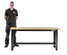 Werkbank niedrig schwarz 183 x 61 cm. höhenverstellbar von 81 bis 111 cm. mit Hartholzplatte