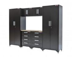 Komplette Werkstatteinrichtung basic line - Werkbank mit Hartholzplatte 8 Schubladen, 268 x 193 cm