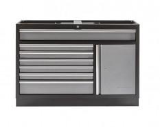 Werkzeugschrank aus Metall mit 7 Schubladen und einer Scharniertür 136 x 46 x 91 cm