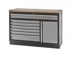 Werkzeugschrank / Werkbank aus Metall mit 7 Schubladen und einer Scharniertür mit Hartholzplatte 136 x 46 x 91 cm