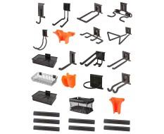 Gerätehalter Set 26 tlg. - Gartengeräte aufhangung - Garten Aufbewahrungsset - Aufbewahrung  - Gerätehaken - inkl. Metallschiene