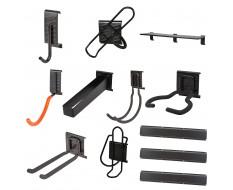 Gerätehalter Set 12 tlg. - Gartengeräte aufhangung - Garten Aufbewahrungsset - Aufbewahrung  - Gerätehaken - inkl. Metallschiene
