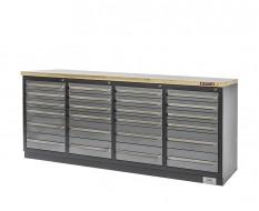 Profi Werkbank - Montagetisch 215 x 70 x 95 cm. mit 24 Schubladen und Hartholzplatte