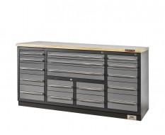 Profi Werkbank - Montagetisch 183 x 70 x 95 cm mit 17 Schubladen und Hartholzplatte