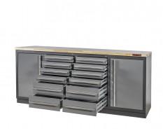 Profi Werkbank - Montagetisch 215 x 70 x 95 cm. mit 12 Schubladen, 2 Werkzeugschränken und Hartholzplatte