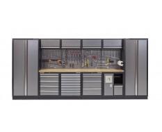 Komplette Werkstatteinrichtung mit Hartholzplatte, Werkstatt Set 455 x 200 cm - 19 Schubladen