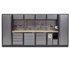 Komplette Werkstatteinrichtung mit Multiplexplatte, Werkstatt Set 392 x 200 cm - 19 Schubladen
