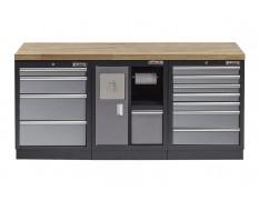 Werkstatt Set mit Hartholzplatte,Mülleimer - 12 Schubladen - Werkstatteinrichtung -  204 x 46 x 94,6 cm