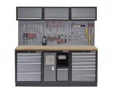 Werkstatt Set mit Hartholzplatte, Lochwand, 3 x Hängeschrank - 12 Schubladen - 204 x 46 x 200 cm - Werkstatteinrichtung