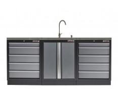 Werkstatt Set mit Metallarbeitsplatte, Waschbecken  - 10 Schubladen - Werkstatteinrichtung - 204 x 46 x 94,6 cm