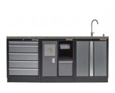 Werkstatt Set mit Metallarbeitsplatte, Waschbecken  - 6 Schubladen - Werkstatteinrichtung - 204 x 46 x 94,6 cm
