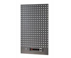 Werkzeuglochwand 105 x 61 cm. (HxB) Hammerschlag Grau mit 3 Steckdosen und USB Anschluss.