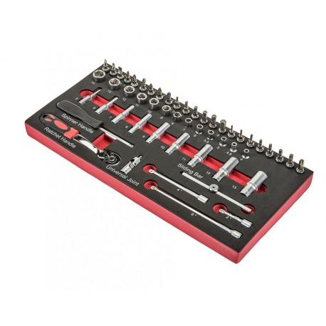 Steckschlüsselsatz ¼ Zoll mit Umschaltknarre und Verlängerungen 52-teilig in Werkzeugeinlage