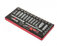 Steckschlüsselsatz 3/8 Zoll mit Umschaltknarre und Verlängerungen 33-teilig in Werkzeugeinlage