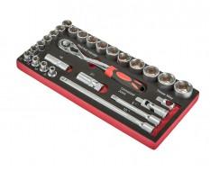 Steckschlüsselsatz 1/2 Zoll mit Umschaltknarre und Verlängerungen 27-teilig in Werkzeugeinlage